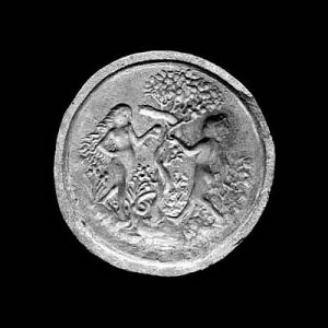 Gebäckmodel mit Darstellung des Sündenfalls, Keramik, 1480-1500