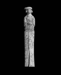 Messergriff mit Damenfigur, Bein, geschnitzt, ca. 1550